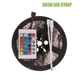 Wholesale Led Color Changing Rope Lights - 5M SMD RGB LED Strip 5050 Waterproof IP65 Color Changing 12V Led Flexible Rope Light +24 Key IR Remote Controller