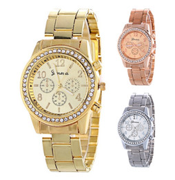 Wholesale Stainless Steel Chronograph Watches - Wholesale women geneva metal steel alloy watch fashion luxury ladies dress quartz diamond Analog gift mens watches 3 colors