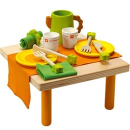 Wholesale Children Wooden Tea Set - Baby Toys Child Wooden Tableware Tea Set Kitchen Toy Pretend Play Small Table Food Wooden Toys Child Educational Birthday Gift