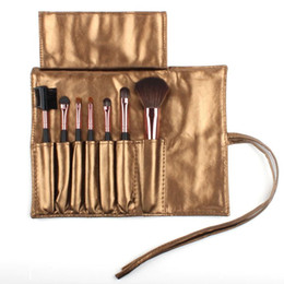 Wholesale Sleek Make Up - 2015 High Quality 7 Makeup Brush Set in Sleek Golden Leather-Like Case Portable Make up Brushes