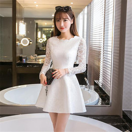 Wholesale Dentelle Dress - 2016091704 Spring Summer Autumn Women Lace Casual Dress Long Sleeve Korean Party Dresses Vestido White Black Pink Mini Dress Robe Dentelle