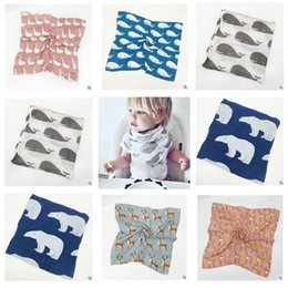 Wholesale Muslin Cloth Baby - Christmas Baby Bibs Fox Swaddles Baby Cotton Muslin Saliva Towels Burps Cloths Bandana Napkin Baby Scarf Gifts DHL Free Shipping