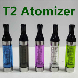 Wholesale Electronic Vaporizer Wicks - T2 Atomizer Electronic Cigarettes Vaporizer T2 Clearomizer 2.4ml Long Wick Cotton Replacement Coils Plastic Drip Tips For Ego Evod Battery