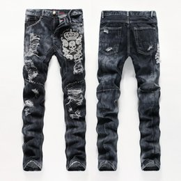 Wholesale Mens Pants Patterns - 2017 embroider Men's Distressed Ripped Skinny Jeans Fashion Designer Mens long Jeans Slim beads Mens Denim Pants Hip Hop Men Jeans