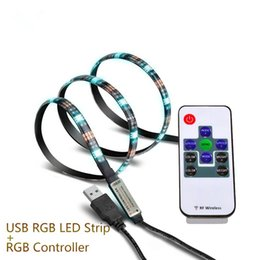 Wholesale Blue Smd Strip 1m - 1M 5V USB LED strip 5050 black flexible light IP65 Waterproof 30LED m RGB White Blue TV Background Lighting Strip with Mini RGB Controller