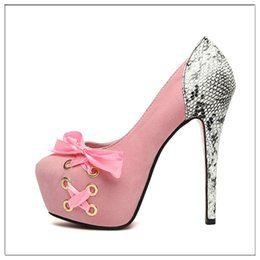 Wholesale Black Stilettos Bow - Round Toe Fashion Wedding Lace-up Bow Thin Heel High Heels Shoes Sexy Women Pumps Plat form Women's Shoe Suede Side Tie Ribbons Wedding Shoe