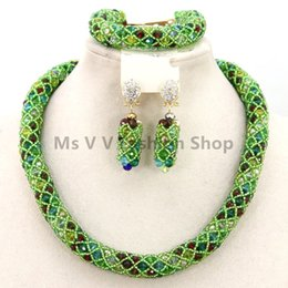 Wholesale Plastic Beads Earrings - 2016 new arrival green colorful nigerian wedding Women Bridal Jewelry Set Dubai African beads Jewelry Sets for Valentine's Gift single layer