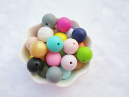 Wholesale Mixed Material Bracelet - 50PCS Mix Color Silicone Teething Beads Baby Teether Round Bead 15mm DIY Chewelry Necklace Bracelet Food Grade Material Chewable Beads