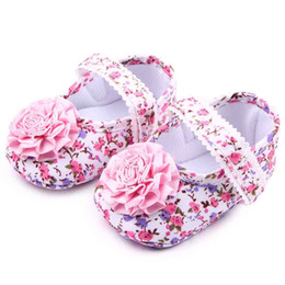 Wholesale Infant Size Flower Girl Dresses - New Baby Girls Dress Shoes Big Pink Flower Knot on Floral Print Upper Lace Band Soft Sole Anti-slip Infant Walking Shoes