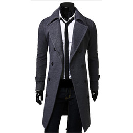 Wholesale Down Peacoat - Fall-Men Long Peacoat Winter Down Jacket Mens Coat Male Camel black gray Wool Overcoat Manteau MC056