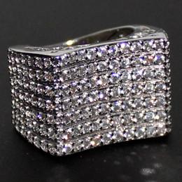 Alliances dames en or blanc en Ligne-Eternal Lady's 14K or blanc rempli de diamants simulés CZ pavé mariage Big Ring Bague marque bijoux pour les femmes