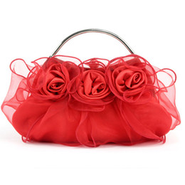 Wholesale Handmade Bags Purses - Handmade Rose Floral Hand bag Ruffles Organza Wedding Bridal Prom Evening Party Clutch Handbag Lady Purse Peach Red Silver Purple Off White
