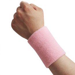 Wholesale Cotton Wristbands Sweatband - Wholesale-1Pcs Unisex Cotton Brand Sports Band Wristband Wrist Support Protector Sweatband Basketball  Tennis  Badminton Sports Safety