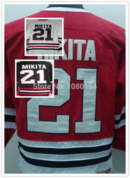 Wholesale Mens Discount White Shirts - Discount Chicago Mens Jersey #21 Stan Mikita Red Retro Vintage Ice Hockey Jersey Best Quality Stitched White Black Mikita Shirts