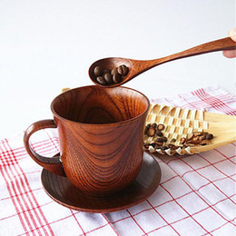 Wholesale Tea Cup Saucer Sets Wholesale - Japanese Style Natural Wood Cup+Saucer+Spoon Drinkware Set Coffee Cup Teacup Water Tea Cups Eco-friendly Free Shipping ZA5167