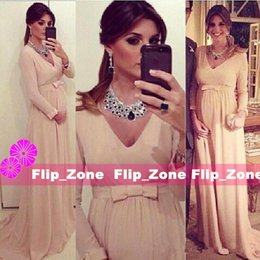 Wholesale Maternity Gowns For Parties - Long Sleeve 2016 Maternity Evening Dresses for Pregnant Woman with V-Neck Floor Length Chiffon Plus Size Empire Waist Party Formal Gowns