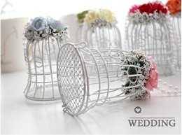 Wholesale Bird Wedding Candy - Wholesale- Luxe White Bird Cage Wedding Gift Box Favors Metal Birdcage Candy Decor Free Shipping