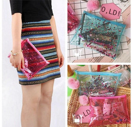 Wholesale Transparent Toiletry Bags - Bling Transparent jelly bags Cosmetic Bags Makeup Casual Travel Toiletry bag waterproof Wash Bathing Cosmetic Pouch Bag KKA3060