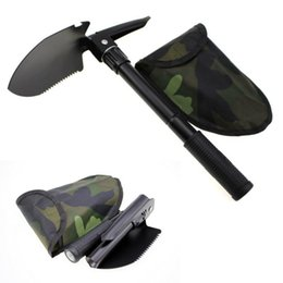 Wholesale folding shovels - Multi-function Folding Camping Shovel Survival Trowel Dibble Pick camping tool Outdoor emergency accessories