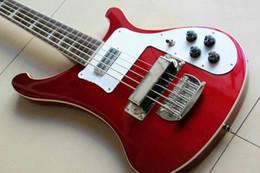 Wholesale Red Black Custom Guitar - Custom Shop RARE 5 Strings Bass Guitar 4003 Red Black Wholesale retail Guitars China Free shipping