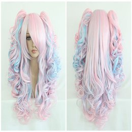 Wholesale Long Wavy Ponytail - Fashion 70cm Long Blue Mixed Pink Wavy Ponytails High Quality Synthetic Lolita Party Cosplay Wig ePacket Free Shipping