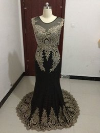 Wholesale Black Scoop - 2016 In Stock Scoop Neck Sheer Prom Dresses Mermaid Applique Lace Sweep Train Modest Black And Red Party Prom Gowns Sheer Illusion Back