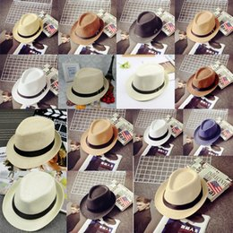 Wholesale Baby Boy Brim Hats - Fedora Hat Vogue Men Women Baby Outdoor Stingy Brim Caps Summer Beach Straw Hats Panama Sun Hats