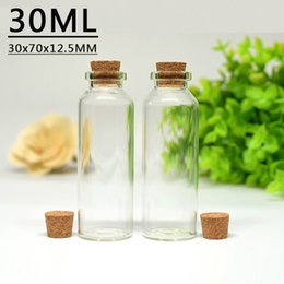 Wholesale Mini Cork Bottle Wholesale - 30ML 30X70X12.5MM Mini Glass Vials Wish Bottles With Cork Stopper Empty Message Weddings Wish Jewelry Party Favors Tube