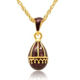 Wholesale Faberge Egg Pendant - hand craft enamel elegant falling curtain pendant multiple crystal paved charm necklace Faberge Egg Pendant for Easter day