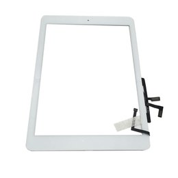 Wholesale Touch Panel For Ipad - Touch Screen Glass Panel Digitizer with Buttons Adhesive Assembly for iPad Air free Shipping
