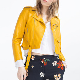 Wholesale Short Brown Leather Jackets - New Europen style bomber orange leather jacket women shorts women Sashes jaqueta couro casual 4 color leather jackets