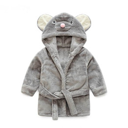 Wholesale Flannels Clothing - Pajamas Baby Animal Plush Bathrobe Baby pc 1 boy girl soft velvet robe pajamas coral children dress baby clothes