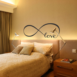 Wholesale Wall Stickers Personalized Quote - Personalized love wall art Infinity Symbol Bedroom Wallpaper Decals Love Quotes Painting Wall Art Bedroom Decor Wall Stickers