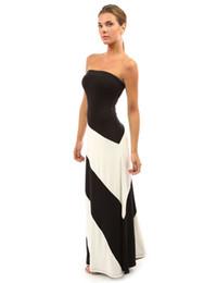 Wholesale Elegant Black Stripes Dress - 2016 European style summer new women's sexy long dress elegant bodycon OL-D251 party stripe long Dress backless strapless women Dress