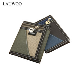 Wholesale photo gifts canvas - Wholesale- Casual Trifold Short Wallets Men Boy Canvas Fashion Purse Vertical Patchwork Design Male Card Coin Holder Money Bags Gift