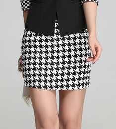 Wholesale Houndstooth Swallow - Wholesale-FashionKNITTING X-336 New 2016 skirts womens Houndstooth mini skirts summer short Swallow gird skirt Free Shipping