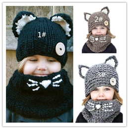 Wholesale Wool Beret Black - 2017 quality new fox handmade children's cat wool hat scarf dual-use, children's winter warm knitted hat wholesale