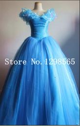 Anime cenicienta online-Al por mayor-Envío gratis Cinderella Princess 2016 vestido de Cenicienta para las mujeres azul deluxe Cinderella cosplay costume girl vestido de novia