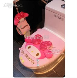 Wholesale Case Melody Free Shipping - Wholesale-Free shipping new arrival toilet seat toilet two piece set My Melody plush potty set cartoon pink big bow toilet lid set cover