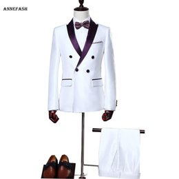 Wholesale White Silk Tuxedo Suits - Wholesale- Custom Made men Bridegroom Groom Wedding tuxedos slim fit men silk white shiny party dress suit (Jackets+Pants)