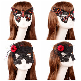 Wholesale Half Mask Butterfly - Diamond Lace Party Masks Butterfly Shaped Christmas Halloween Masquerade Mask Cosplay Half Face Mask Eye Masks OOA2447