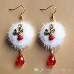 Wholesale Cheap Designer Jewelry For Women - Hot Christmas XMAS Sika Deer Red Crystal Designer Earings Fuzz Ball Dangle Chandelier cheap china jewelry Bling For Women Girl Fashion Charm