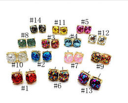 Wholesale Gold Square Stud - Fashion Glitter Druzy Drusy Square Dot Earring 14 Colors Gold Plated Small Cute Shinny Rainbow Opal Ear Stud for Women Girls Jewelry