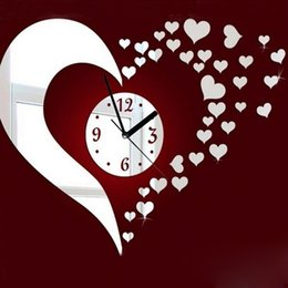 Wholesale Crafts Clocks - DIY Craft DIY 3D Heart Mirror Decoration Wall Clock Living Room Silver