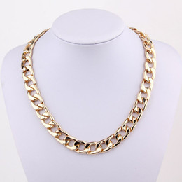 Wholesale Punk Coarse Chain Necklaces - New Fashion Coarse Twisted Link Chain Chunky Gold Ladies' Statement Choker Necklace Punk Jewelry free shipping