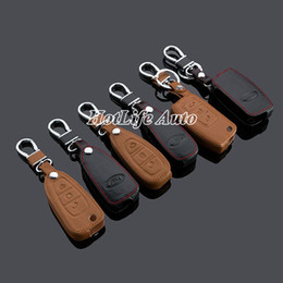 Wholesale Ford Focus Key Chains - Genuine Leather Car Key Case Smart Key Fob Cover Keychain Fits for Ford Kuga Focus New Focus Folding Car Key Rings Key Chain