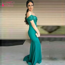 Wholesale Sexy Turquoise Evening Dress - Turquoise Green Off the shoulder Mermaid Evening Dresses Sequined Sexy Prom Dress Bridesmaid Gowns Party Gowns Party Dresses Formal Wear