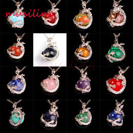 Wholesale Jewelry Ball Stone - Lapis Lazuli White Jade Ruby Natural Gem Stone Super Dragon Ball Bead Reiki Pendant Charms Amulet European Fashion Jewelry 17pcs Mix Order