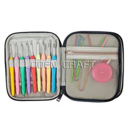Wholesale crochet kits - 36Pcs set Multi Colour Crochet Hooks Yarn Knitting Needles Set Kit with Case Tools ,Curve Needle Crochet Latch DIY Crafts Tools