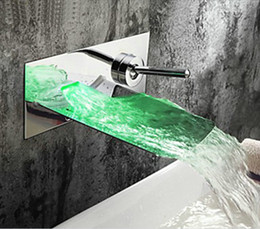 Wholesale Led Bathroom Sink Faucets - Wholesale- Wholesale And Retail LED Wall Mounted Waterfall Bathroom Faucet Vanity Vessel Sinks Mixer Tap Cold And Hot Water Tap